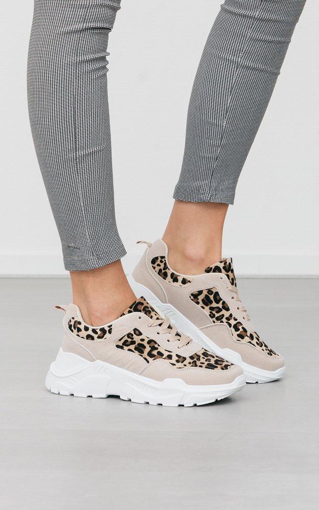 Sneaker Carlyn Beige Leopard | Chunky