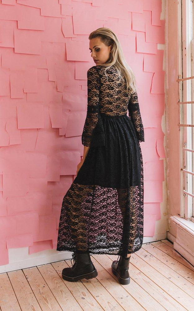 Kleid Patricia Schwarz   Langes Kleid Mit Ausgestellten Ärmeln