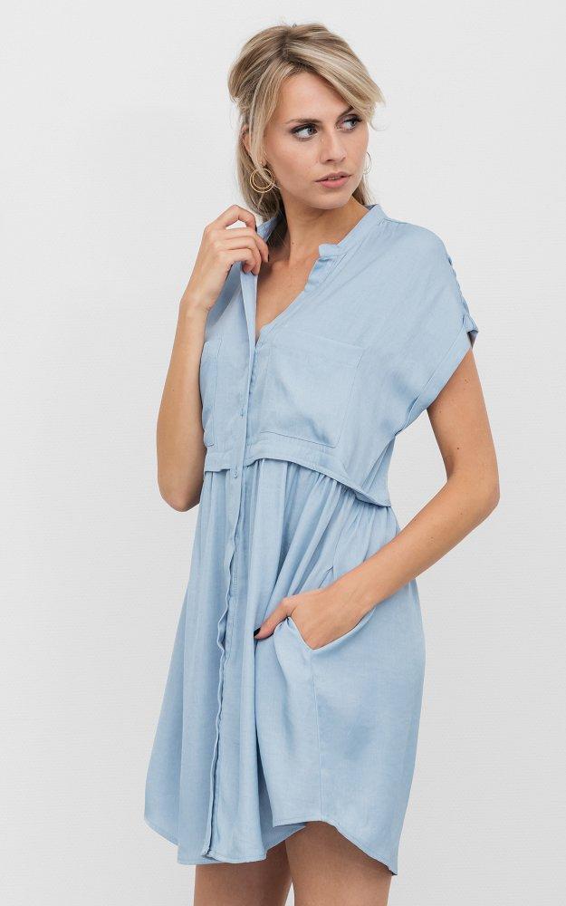 Kleid Kaylee Blau | Kleid Mit Kurzen Ärmeln | Guts & Gusto