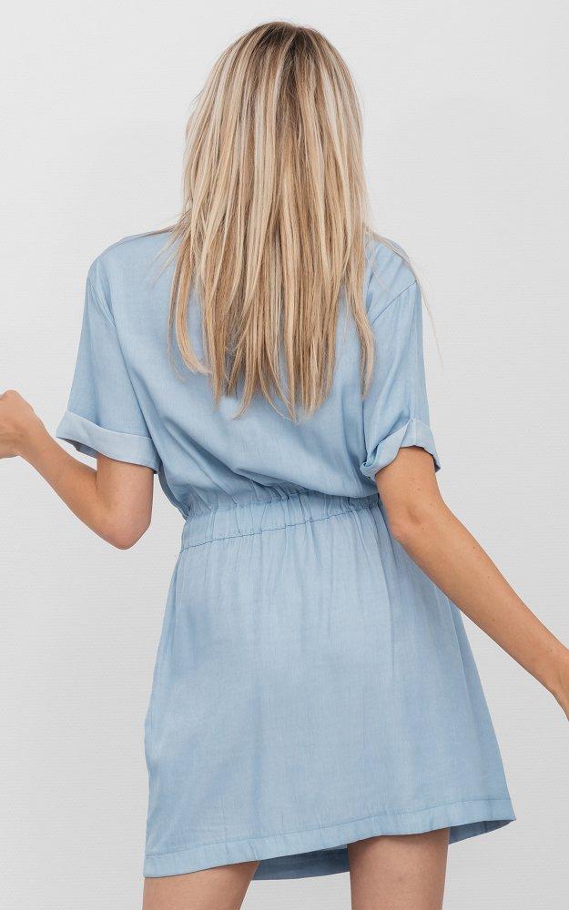 kleid neda hellblau | kurzes kleid mit brusttaschen