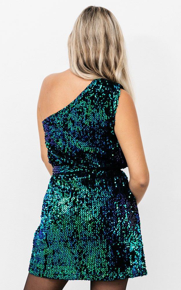 Kleid Blizz Grün | Paillettenkleid Mit Bindegürtel