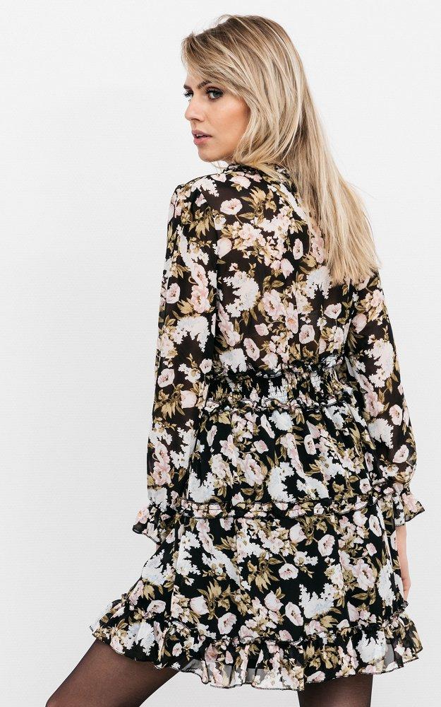 Kleid Flynth Schwarz Weiß | Kurzes Kleid Mit Langen Ärmeln