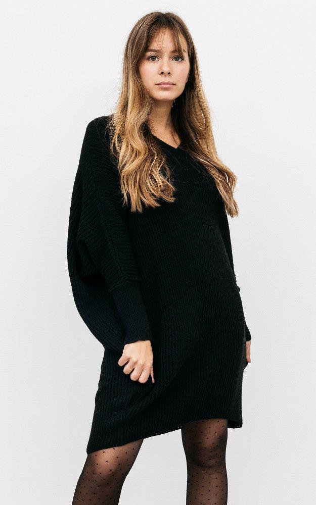 Kleid Alex Schwarz | Oversized Strickkleid Mit V-Ausschnitt
