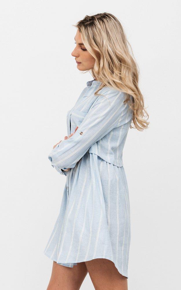 Kleid Ellen Hellblau | Sommerliches Leinenkleid Mit ...