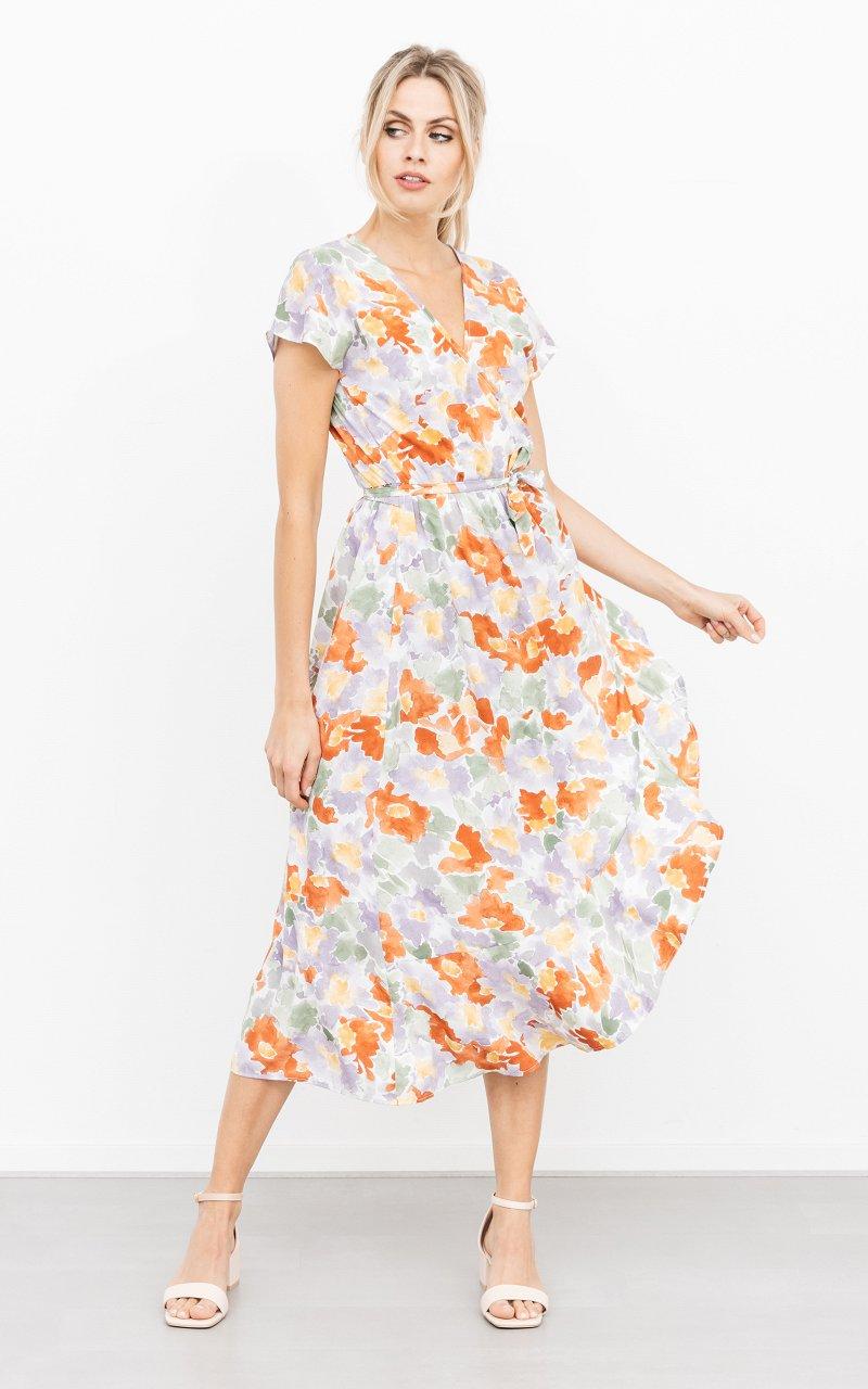 Kleid Estella Lila Grun Wickelkleid Mit Wunderschonem Blumenmuster