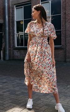 Dress Mirjam - Long patterned dress with open back