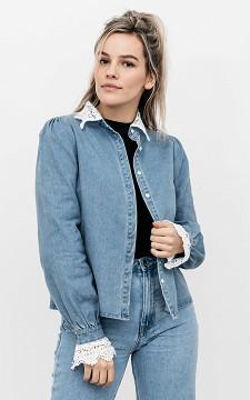 Bluse Fabienne - Bluse im Jeans-Look mit Spitze