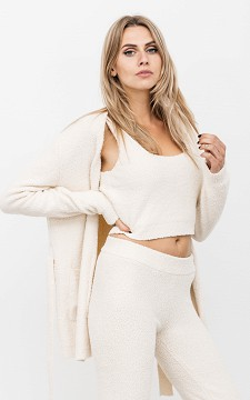 Vest Lorenze - Teddy look vest met strikdetail