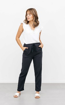 Trousers Meryem - Basic trousers with a waist tie