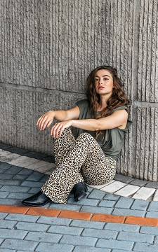 Trousers Lien - Patterned, flared trousers