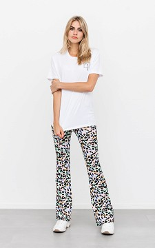 Trousers Claire - Flared trousers with multi colour leopard patterning