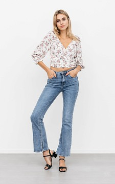 Jeans Veronique - Mid waist flared jeans met split