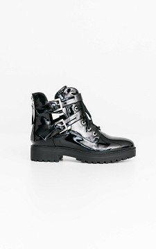 Boots Alain - Lacquer look boots with cut out details