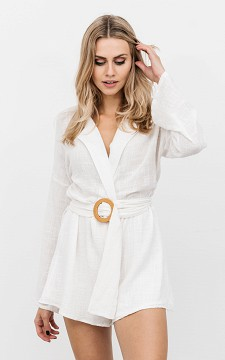 Jumpsuit Maj - Linen look jumpsuit with a belt detail