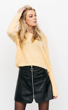Skirt Gwen - Leather-look skirt with a zip
