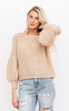 Sweater Leslie - Knitted sweater with balloon sleeves