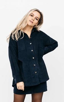 Blouse Yfke - Oversized rib blouse met knopen