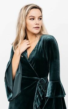 Dress Monalin - Velvet dress with a waist tie
