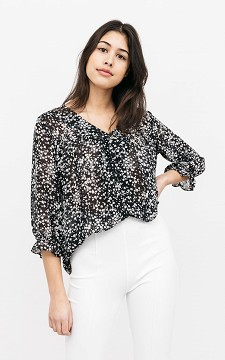 Bluse Mischa - Transparente Bluse mit floralem Muster