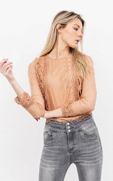 Top Elleke - Lace top with see-through sleeves