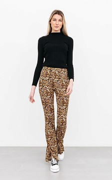 Trousers Daphne - Flared, panther patterned trousers