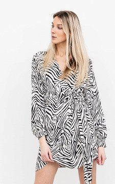 Dress Levine - Wrap-around, zebra patterned dress