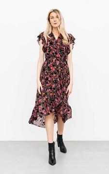 Dress Annelise - Patterned, V-neck dress