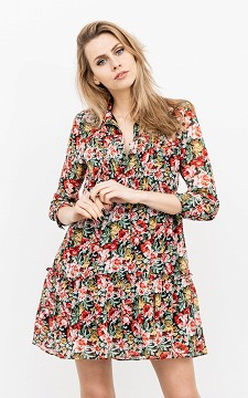 Dress Louanne - Patterned dress with ruffles