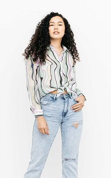 Bluse Jelle - Transparente Bluse mit abstraktem Muster