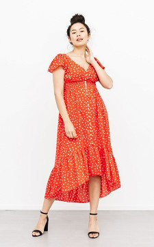 Dress Elly - Patterned dress with pinched fabric detailing