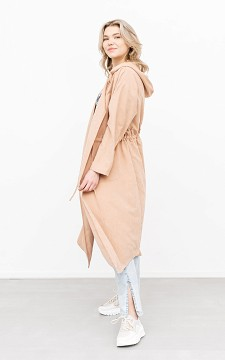 Jacket Marieke - Oversized trench coat with a waist tie