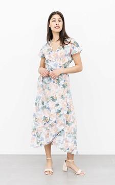 Dress Estella - Patterned, V-neck dress