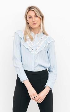 Blouse Rikkie - Gestreepte blouse met ruches